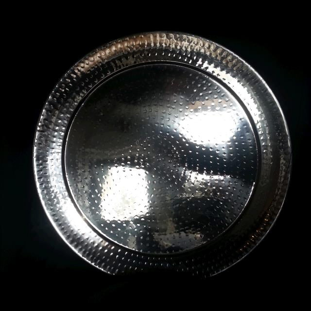Where to find Tray, Hammered Stainless Round 20 in New Britain
