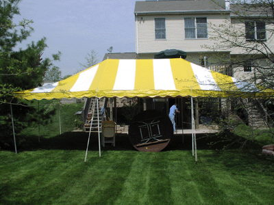 Where to rent 20 x30  Yellow   White Canopy in The Greater Philadelphia area, New Britain PA, Doylestown PA, Lansdale PA, New Hope PA
